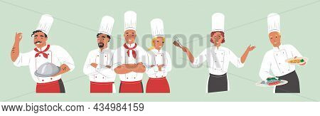 People In Chef Uniform Showing Different Hand Gestures Expressing Feelings And Emotions, Vector Isol