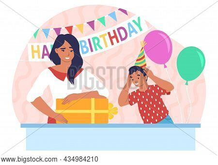 Happy Mother And Son Celebrating Kid Birthday Party At Home, Vector Illustration. Parent Child Relat