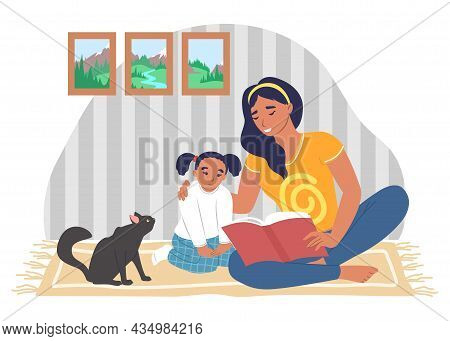 Happy Mother Reading Book With Daughter Sitting On Carpet, Vector Illustration. Parent Child Relatio