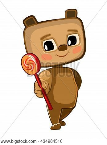 Cute Kid Bear Stretches Out His Hand Offering A Treat. He Wants To Present A Sweetness Lollipop. Fun