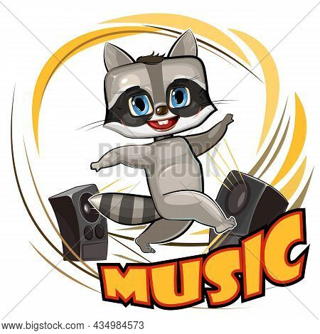 Cute Raccoon Dancing. Cartoon Style. Loud Music From Speakers. Dance Of A Funny Animal Child. Illust