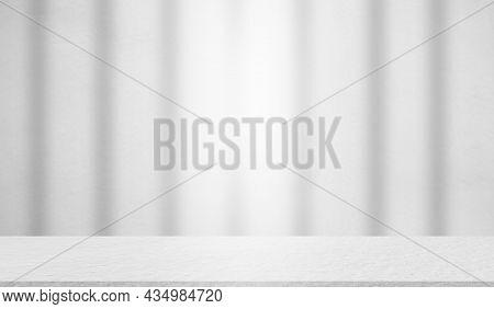 Empty Gray Studio Room Cement Floor Background. Table Shelf Interiors Montage Display Backdrop. Blan