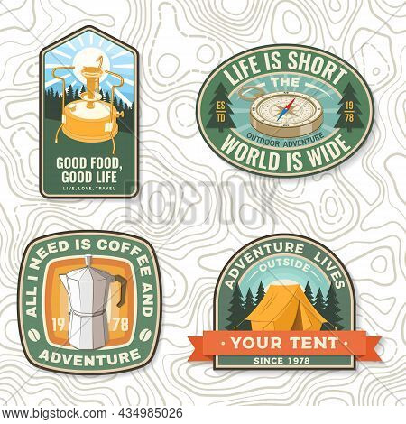Set Of Patch Or Sticker With Travel Inspirational Quotes. Vector. Concept For Shirt Or Logo, Print,