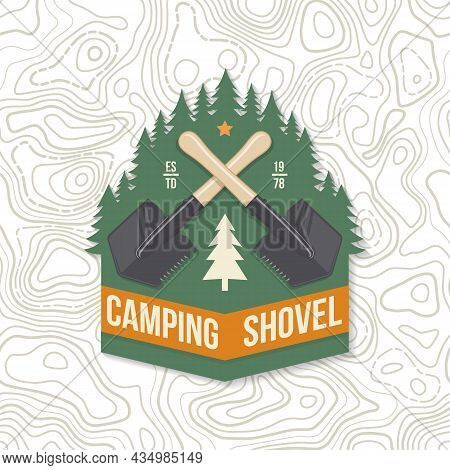 Camping Shovel Patch Or Sticker. Outdoor Adventure. Vector. Concept For Shirt Or Logo, Print, Stamp
