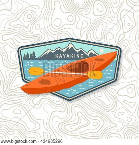 Kayaking Patch Or Sticker. Outdoor Adventure. Vector Illustration. Concept For Shirt Or Logo, Print,