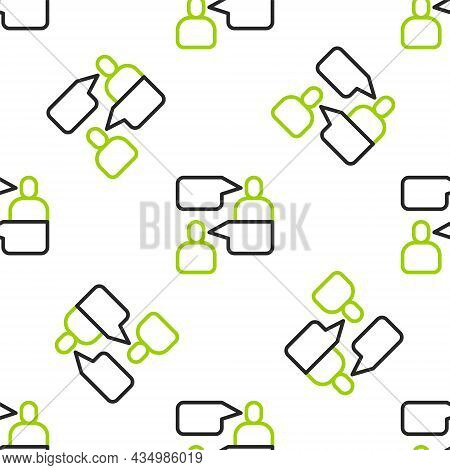 Line Two Sitting Men Talking Icon Isolated Seamless Pattern On White Background. Speech Bubble Chat.