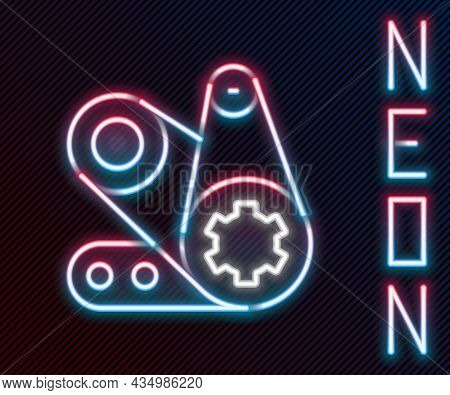 Glowing Neon Line Timing Belt Kit Icon Isolated On Black Background. Colorful Outline Concept. Vecto