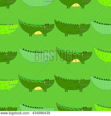 Pattern With Painted Green Crocodiles. Can Be Used For Wallpaper, Textiles, Packaging, Cards, Covers