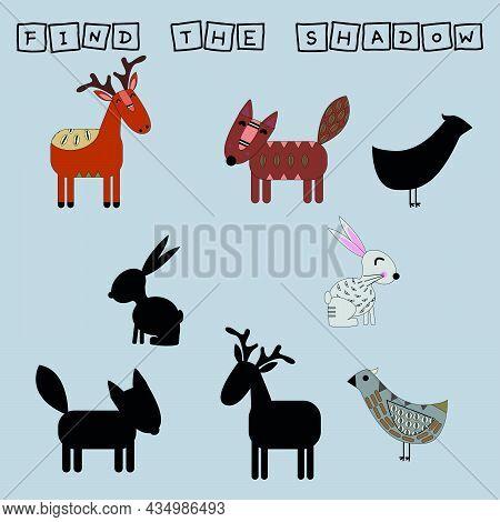 Find A Pair Or Shadow  Game With Funny Deer, Rabbits, Fox., Bird.  Worksheet For Preschool Kids, Kid