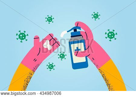Cleaning Hands With Sanitizer Concept. Human Hands Applying Cream Liquid Sanitizer For Protection Ag