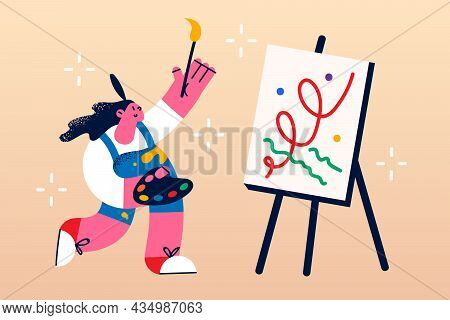 Artwork, Painting And Drawing Concept. Young Smiling Woman Cartoon Character Artist Standing With Br