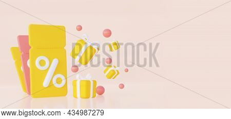 3d Coupon Ticket, Price Tag With Percentage Sign. Gifts Floating In The Air. 3d Rendering.