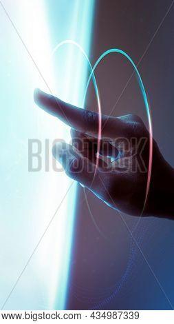 Hand using virtual screen advanced technology digital remix