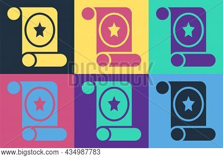 Pop Art Magic Scroll Icon Isolated On Color Background. Decree, Paper, Parchment, Scroll Icon. Vecto