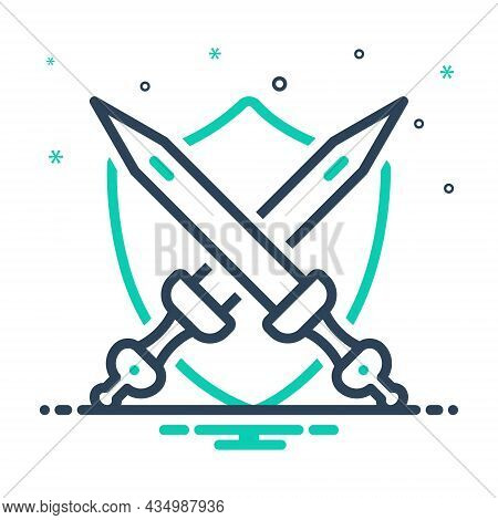 Mix Icon For Armed Sword Warrior Weapon Guard Defence Shield Protection Armor Knight Antique