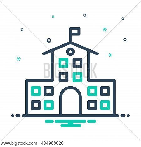 Mix Icon For College Educational Institution Academic Graduation Building Primary School University