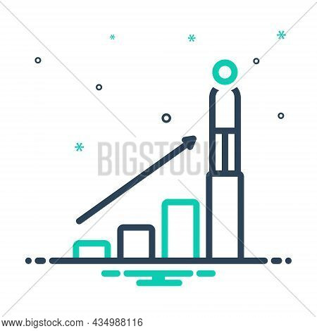 Mix Icon For Successfully Business Profitably Economic Graph Achievement Growth Stairs-up Increase B