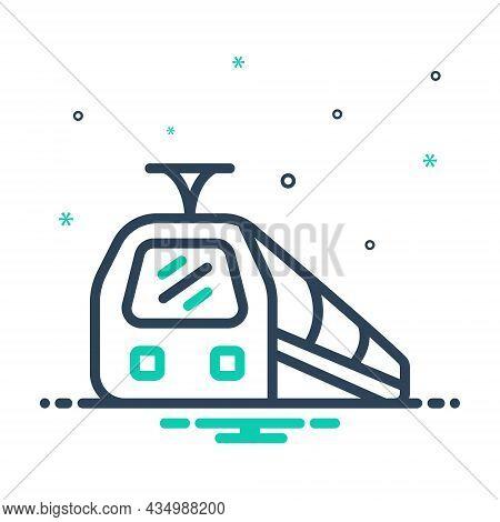 Mix Icon For Train Subway Railway Speed Engine Tram Metro Track Railroad Transportation Travel Passe