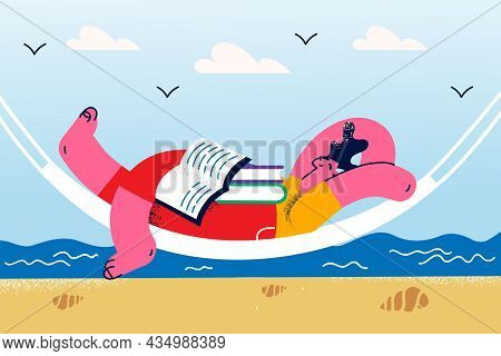 Vacations, Relaxation And Leisure Concept. Young Smiling Relaxed Man Cartoon Character Lying In Hamm