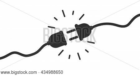 Electric Socket With Plug. Connect Disconnect Symbol. Vector Illustration.