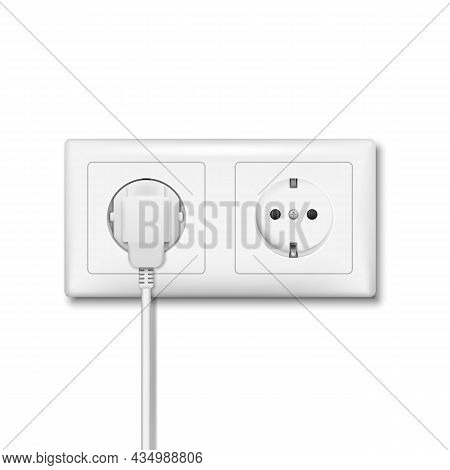 Realistic Plug Inserted In Electrical Outlet. Electric Plugs And Socket. Vector Illustration.