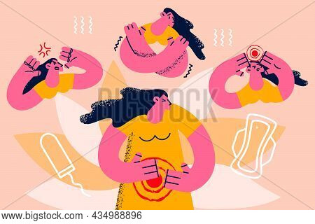 Mood And Stress During Pms Period Concept. Young Woman Cartoon Character Feeling Angry Pain In Belly