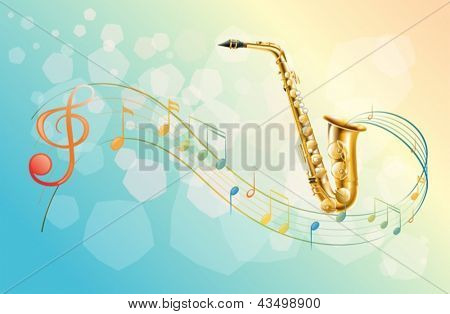 Illustration of a saxophone and the musical symbols