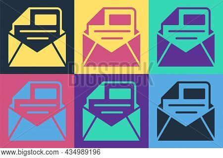 Pop Art Mail And E-mail Icon Isolated On Color Background. Envelope Symbol E-mail. Email Message Sig