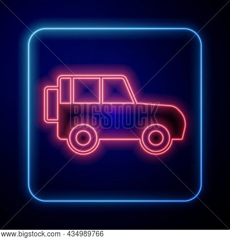 Glowing Neon Off Road Car Icon Isolated On Black Background. Vector