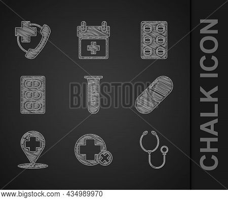 Set Test Tube And Flask, Cross Hospital Medical, Stethoscope, Medicine Pill Or Tablet, Map Pointer W