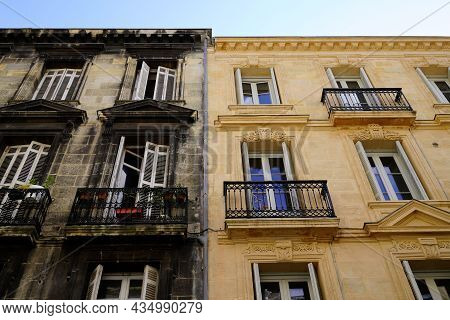 Before And After Cleaning Building Stones City Facades With Difference Of Wash Clean House And Dirty