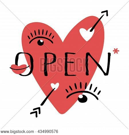 Vector Heart With Arrow, Eyes And Lips Isolated On White Background. Signboard Open On The Door Of A