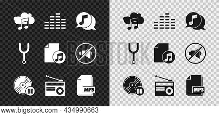 Set Music Streaming Service, Equalizer, Musical Note Speech Bubble, Vinyl Disk, Radio With Antenna,