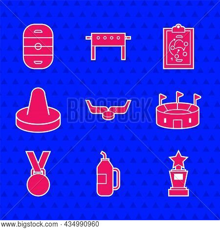 Set Ice Hockey Sticks And Puck, Fitness Shaker, Award Cup, Hockey Stadium, Medal, Mallet For Playing