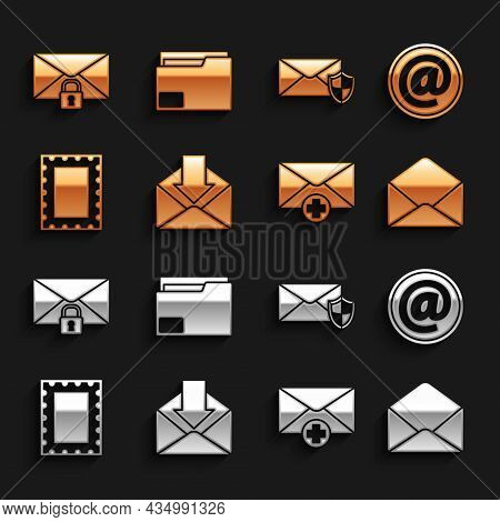 Set Envelope, Mail And E-mail, Received Message Concept, Postal Stamp, With Shield, Lock Password An