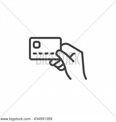 Card Payment Line Icon. Linear Style Sign For Mobile Concept And Web Design. Credit Card In A Hand O