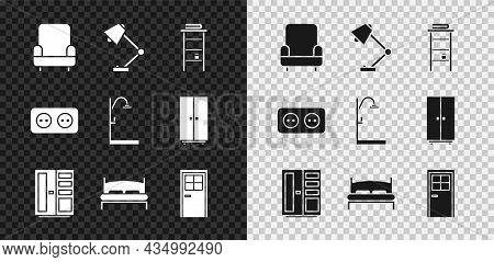 Set Armchair, Table Lamp, Bathroom Rack With Shelves For Towels, Wardrobe, Big Bed, Closed Door, Ele