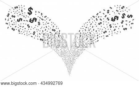 Dollar Currency Twice Fireworks Fountain. Dollar Currency Explosion Twice Fountain. Object Fountain