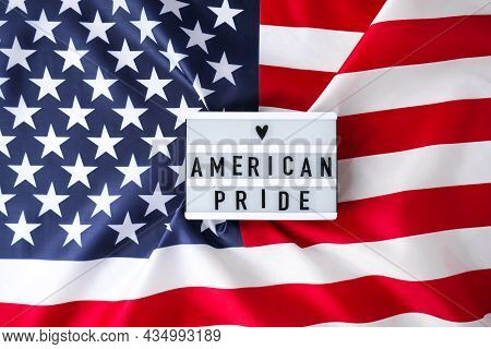 American Flag. Lightbox With Text American Pride Flag Of The United States Of America. July 4th Inde