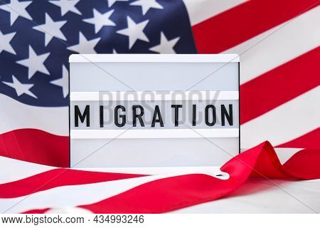American Flag. Lightbox With Text Migration Flag Of The United States Of America. July 4th Independe