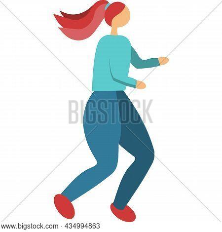 Woman Run Icon Jogging Girl Vector On White