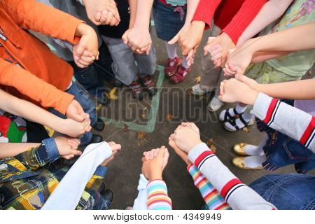 Circle From Children, Who Are Held For Hands