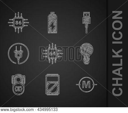 Set Processor With Microcircuits Cpu, Multimeter, Electric Scheme, Light Bulb Concept Of Idea, Elect