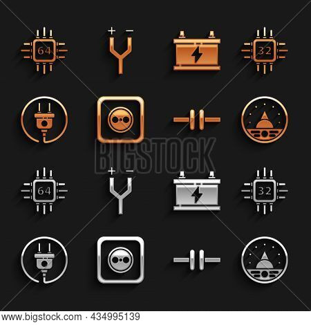 Set Electrical Outlet, Processor With Microcircuits Cpu, Ampere Meter, Multimeter, Voltmeter, Scheme
