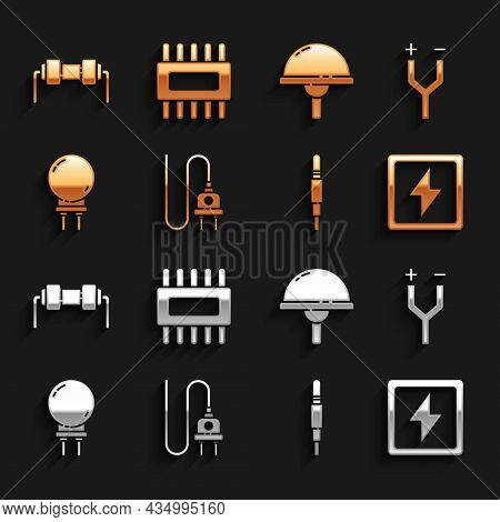 Set Electric Plug, Cable, Lightning Bolt, Audio Jack, Emitting Diode, Resistor Electricity And Proce
