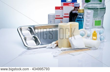 Wound Care Dressing Set. Wound Care Equipment In Hospital For Nurse. Conform Bandage, Forceps, Alcoh