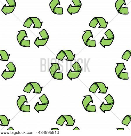 Seamless Eco Pattern. Three Arrows Eco Recycle. Reuse Ornament Doodle On White Background. Green Fla