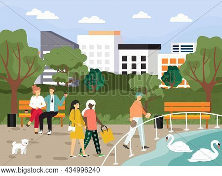 Happy People Sitting On Bench, Walking, Feeding Swans In City Park, Flat Vector Illustration. Outdoo