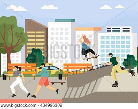 Happy People Skateboarding And Roller Skating In City Park, Vector Illustration. Skateboard Ramp. Sk