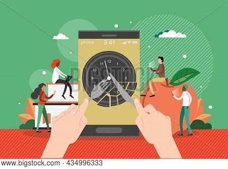 Smartphone With Clock, Human Hands Holding Fork And Knife, Flat Vector Illustration. Lunch Time Mobi
